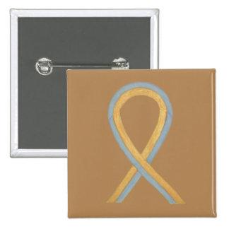 Gray and Gold Awareness Ribbon Custom Button Pins