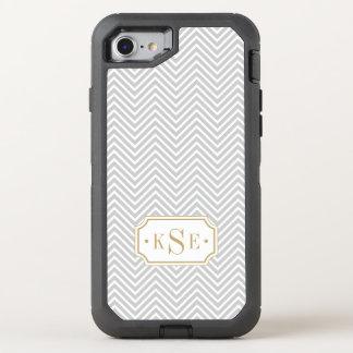 Gray and Gold Elegant Chevron Monogram OtterBox Defender iPhone 8/7 Case