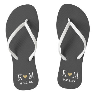 Gray and Gold Modern Wedding Monogram Flip Flops