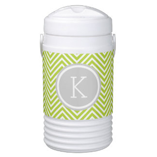 Gray and Green Chevron Custom Monogram Drinks Cooler