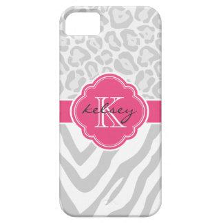 Gray and Hot Pink Animal Print Custom Monogram iPhone 5 Case