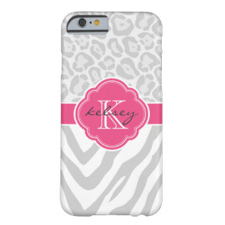 Gray and Hot Pink Animal Print Custom Monogram Barely There iPhone 6 Case