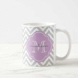 Gray and Lilac Chevron Custom Monogram Coffee Mug