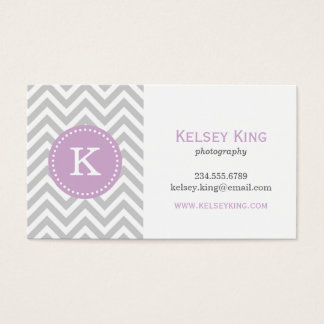 Gray and Lilac Purple Chevron Custom Monogram Business Card