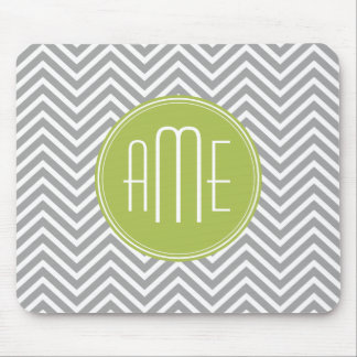 Gray and Lime Chevrons with Custom Monogram Mouse Mat