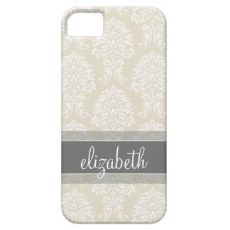 Gray and Linen Vintage Damask Pattern with Name iPhone 5 Cases