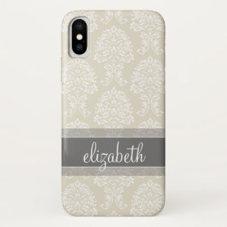 Gray and Linen Vintage Damask Pattern with Name iPhone X Case