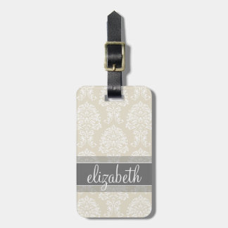 Gray and Linen Vintage Damask Pattern with Name Luggage Tag