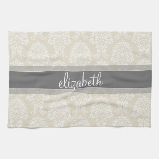 Gray and Linen Vintage Damask Pattern with Name Tea Towel