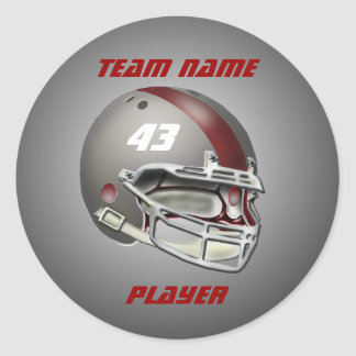 Gray and Maroon Football Helmet Classic Round Sticker