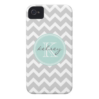 Gray and Mint Chevron Custom Monogram iPhone 4 Covers