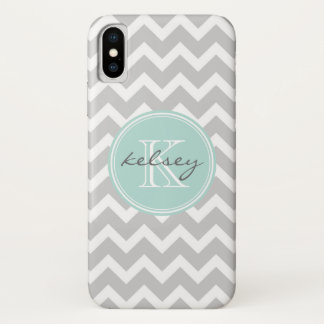 Gray and Mint Chevron Custom Monogram iPhone X Case