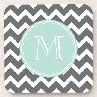Gray and Mint Chevron with Custom Monogram Coaster