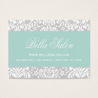 Gray and Mint Elegant Floral Damask Business Card