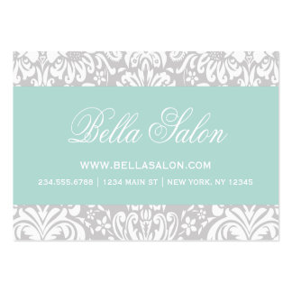 Gray and Mint Elegant Floral Damask Pack Of Chubby Business Cards