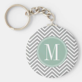 Gray and Mint Green Chevron Pattern with Monogram Basic Round Button Key Ring