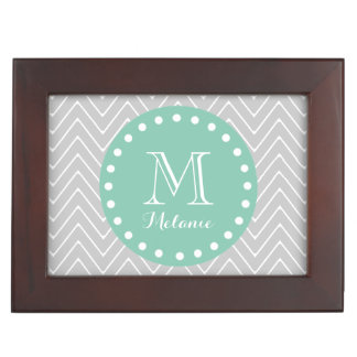 Gray and Mint Green Modern Chevron Monogram Keepsake Box