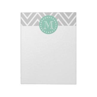Gray and Mint Green Modern Chevron Monogram Notepad