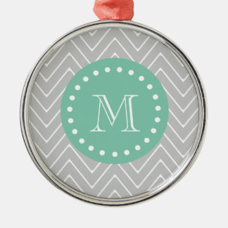 Gray and Mint Green Modern Chevron Monogram Silver-Colored Round Decoration