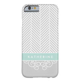 Gray and Mint Herringbone Swirl Custom Monogram Barely There iPhone 6 Case