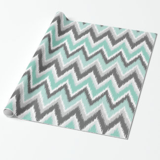 Gray and Mint Ikat Chevron Wrapping Paper