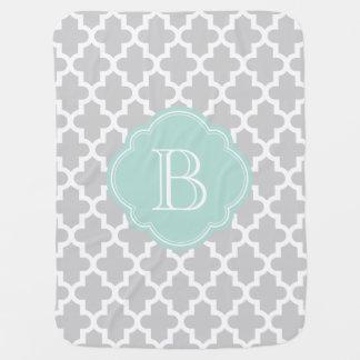 Gray and Mint Moroccan Quatrefoil Monogram Baby Blanket