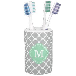 Gray and Mint Moroccan Quatrefoil Monogrammed Soap Dispenser