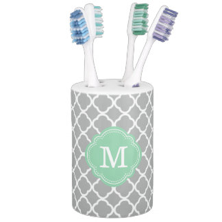 Gray and Mint Moroccan Quatrefoil Monogrammed Soap Dispenser And Toothbrush Holder