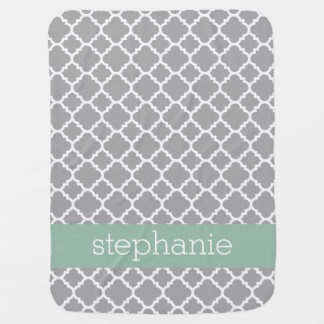 Gray and Mint Quatrefoil Pattern Custom Name Baby Blanket