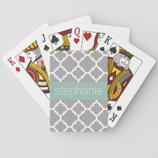 Gray and Mint Quatrefoil Pattern Custom Name Playing Cards