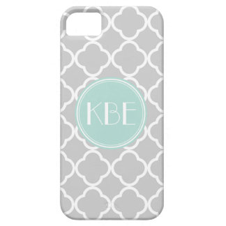 Gray and Mint Quatrefoil with Custom Monogram Barely There iPhone 5 Case