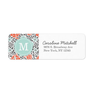 Gray and Mint Retro Floral Damask Custom Monogram
