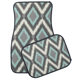 Gray and Mint Tribal Ikat Chevron Car Mat