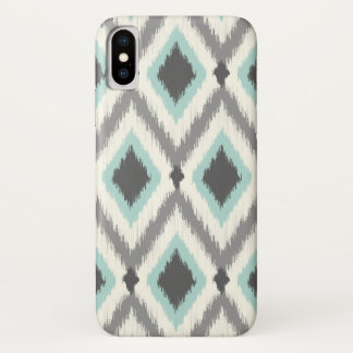 Gray and Mint Tribal Ikat Chevron iPhone X Case