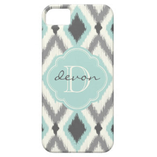 Gray and Mint Tribal Ikat Chevron Monogram Case For The iPhone 5