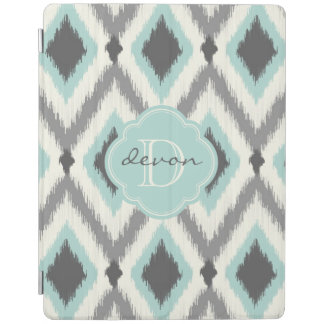 Gray and Mint Tribal Ikat Chevron Monogram iPad Cover