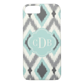 Gray and Mint Tribal Ikat Chevron Monogram iPhone 8/7 Case