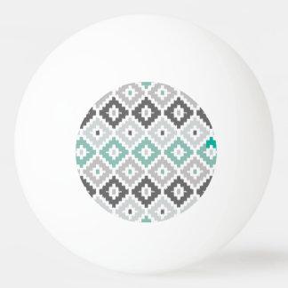 Gray and Mint Tribal Print Ikat Diamond Pattern Ping Pong Ball