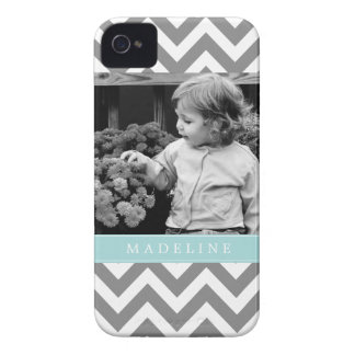 Gray and Mint Zigzags Personalized Photo iPhone 4 Case