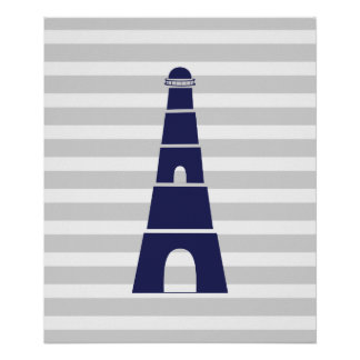 Gray and Navy Striped Nautical Lighthouse Poster