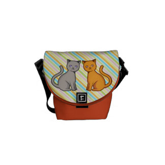 Gray and orange cats messenger bags
