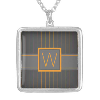 Gray and Orange Pinstripes Necklace