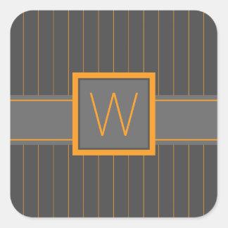 Gray and Orange Pinstripes Sticker