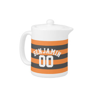 Gray and Orange Rugby Stripes Jersey Name Number