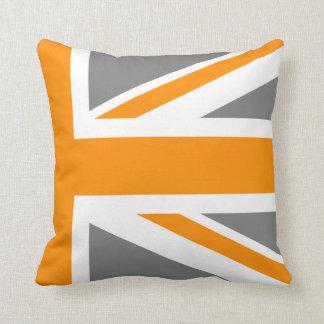 Gray and Orange Union Jack Half Cushion