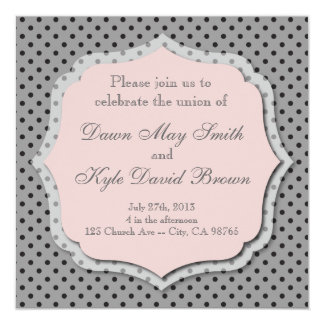 Gray and peach dotted wedding invitation