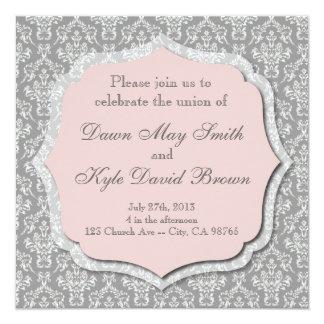 Gray and peach wedding invitation