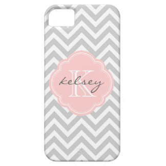 Gray and Pink Chevron Custom Monogram Barely There iPhone 5 Case