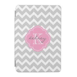 Gray and Pink Chevron Custom Monogram iPad Mini Cover