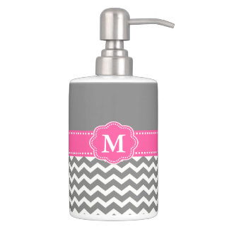 Gray and Pink Chevron Monogram Bathroom Set